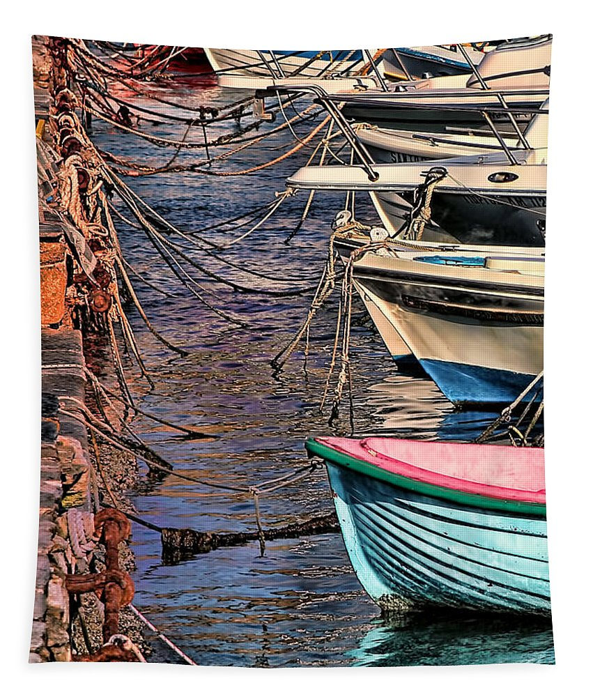 Boat Image Tapestry featuring the photograph By A Nose Mykonos Greece by Tom Prendergast