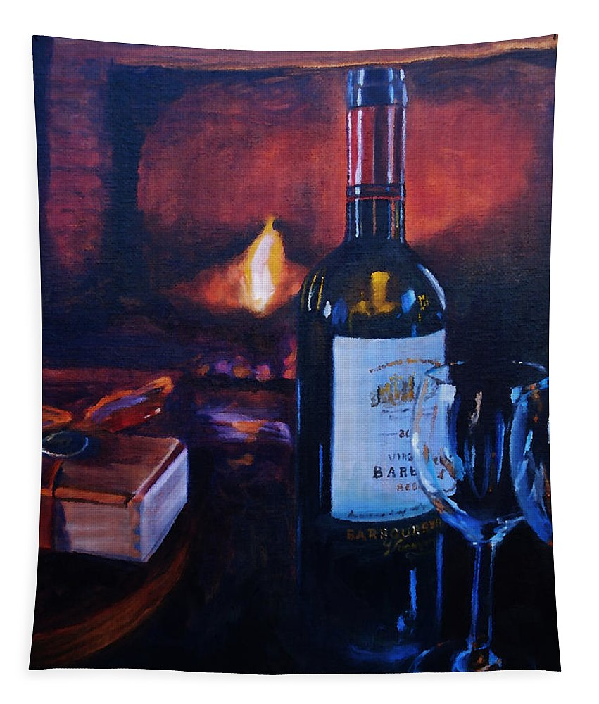 Wine Tapestry featuring the painting By The Fire by Donna Tuten