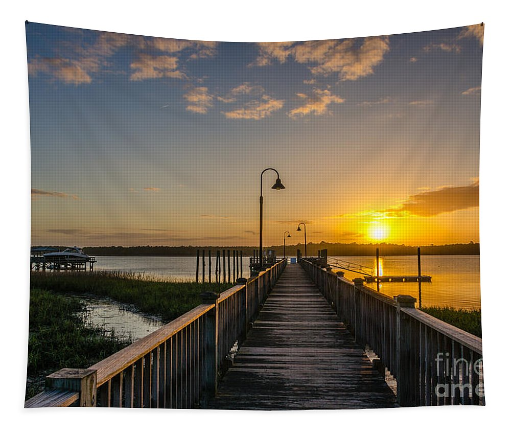 Sunset Tapestry featuring the photograph By The Pier by Dale Powell