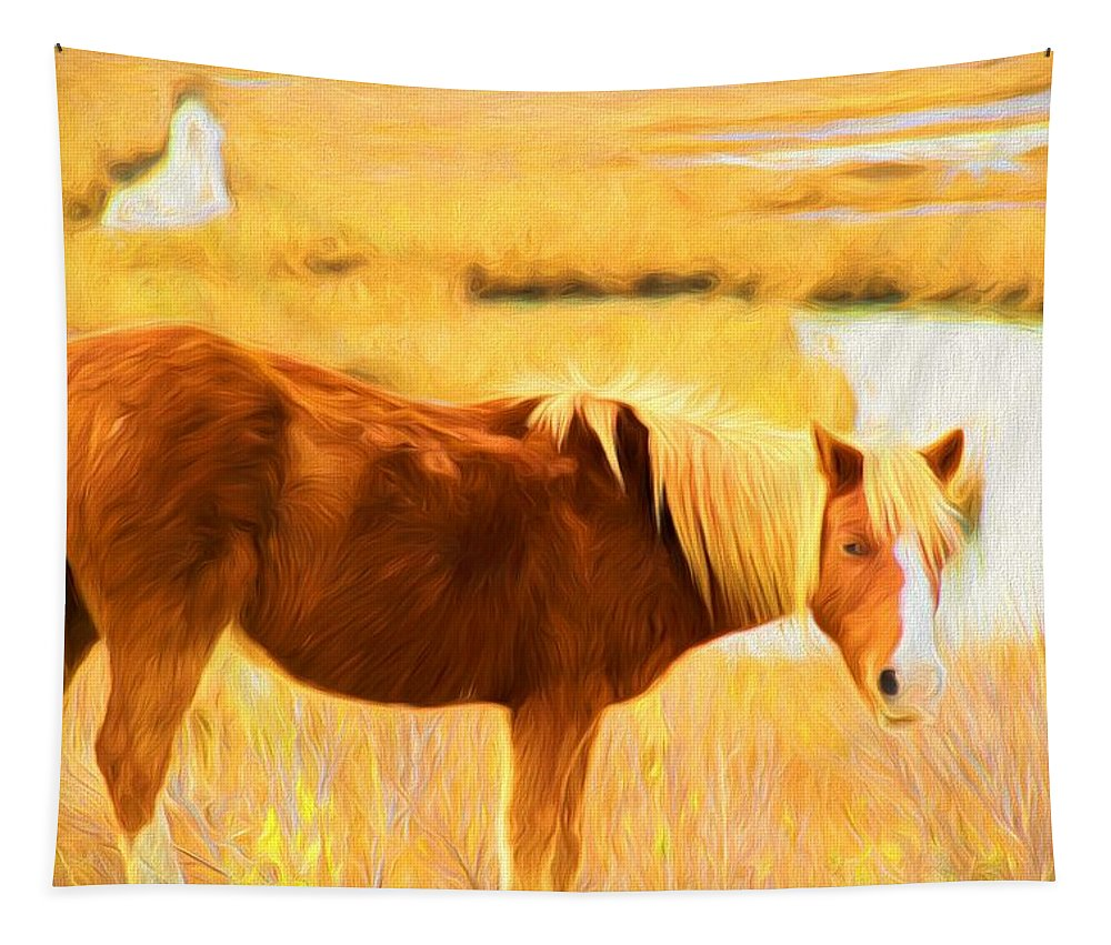 Wild Horse Tapestry featuring the photograph By The Water by Alice Gipson