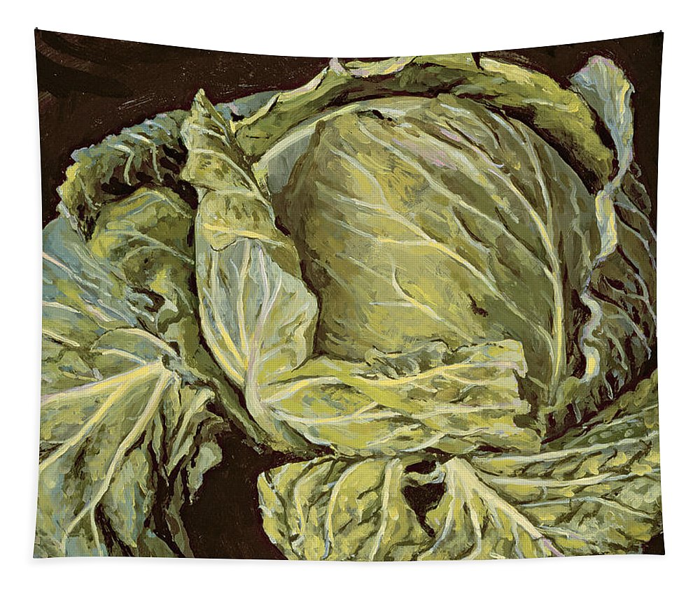 Still-life Tapestry featuring the painting Cabbage Still Life by Vincent Yorke