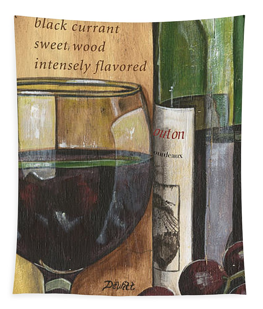 Cabernet Tapestry featuring the painting Cabernet Sauvignon by Debbie DeWitt