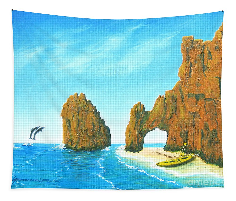Cabo San Lucas Tapestry featuring the painting Cabo San Lucas Mexico by Jerome Stumphauzer