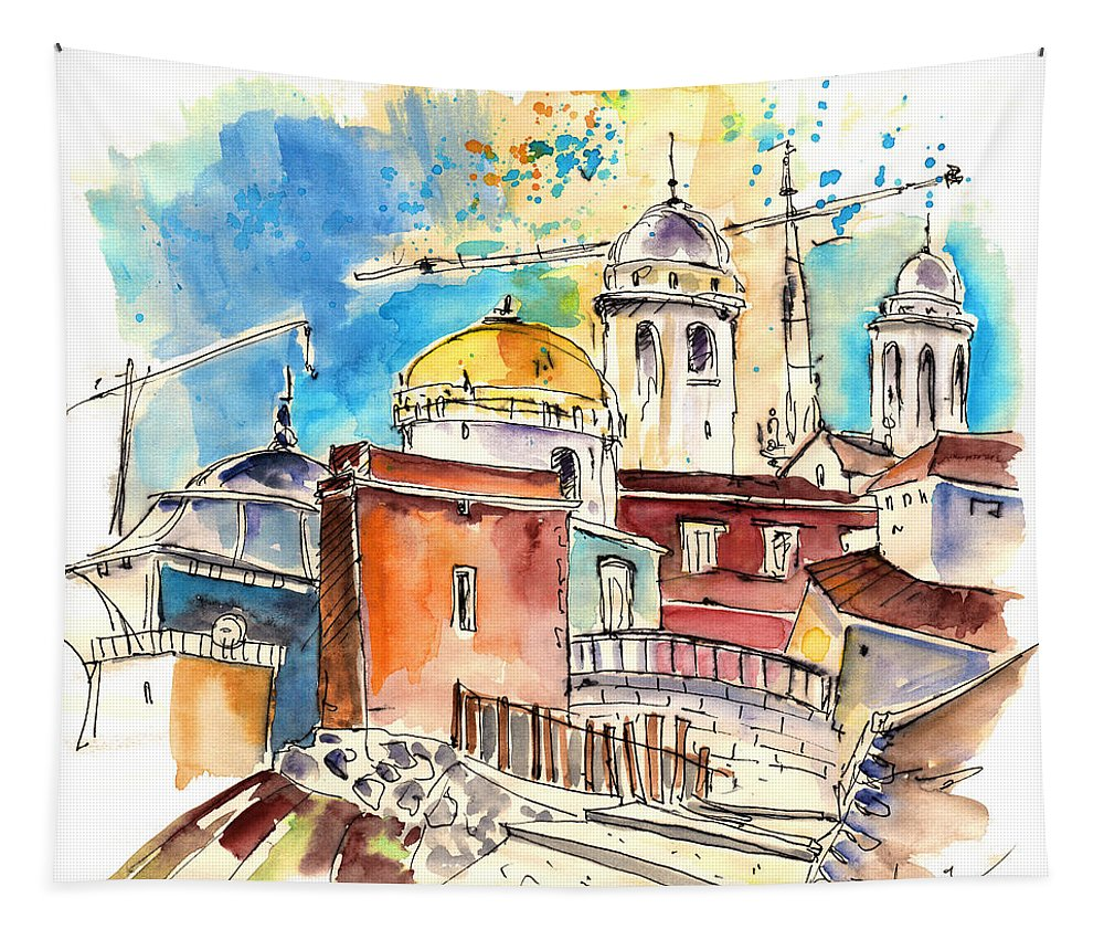 Travel Tapestry featuring the painting Cadiz Spain 02 by Miki De Goodaboom