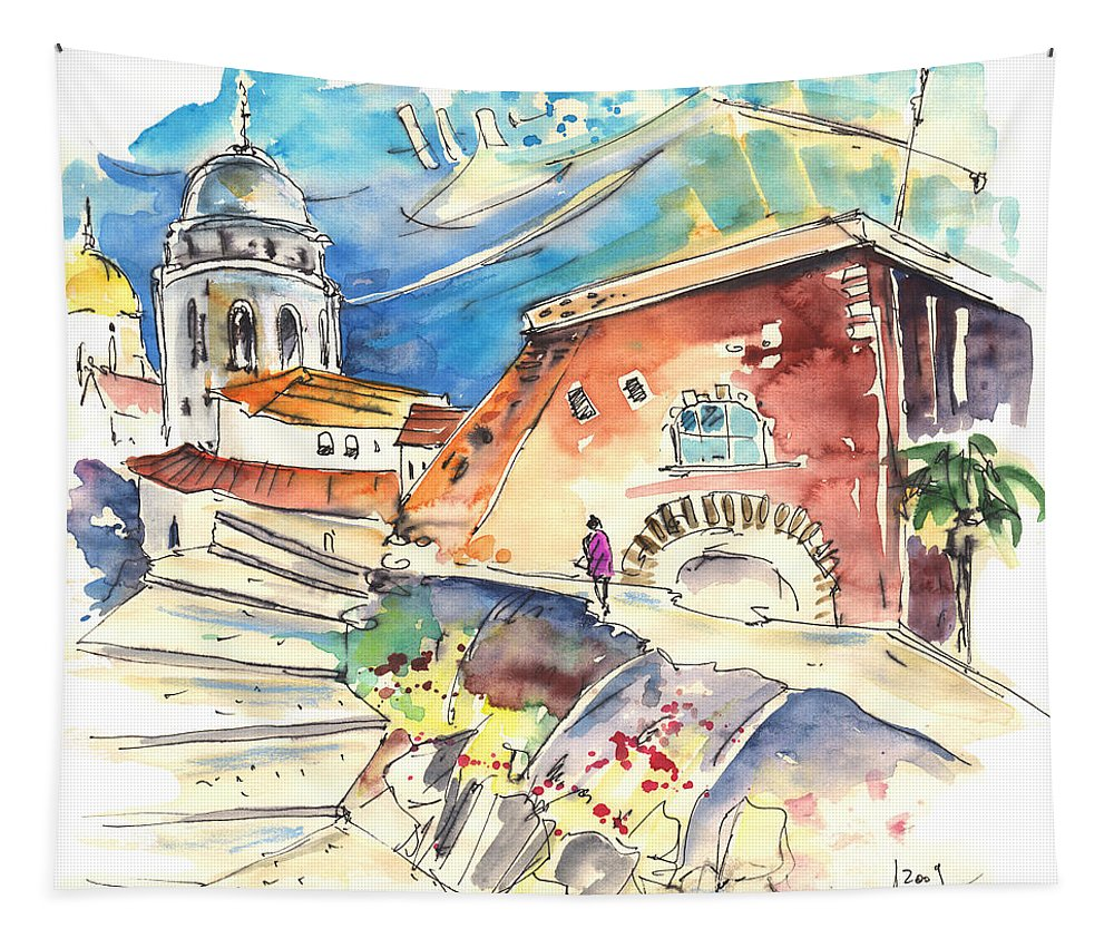 Travel Tapestry featuring the painting Cadiz Spain 03 by Miki De Goodaboom