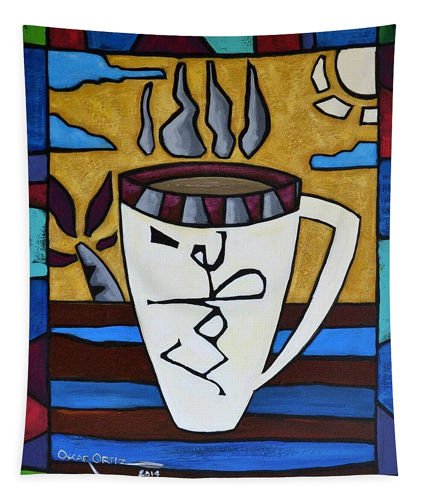 Coffee Tapestry featuring the painting Cafe Resto by Oscar Ortiz