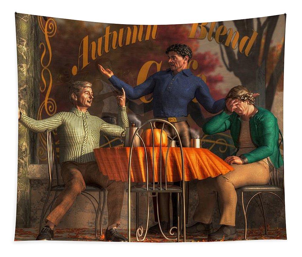 Cafe Philosophy Tapestry featuring the digital art Cafe Philosophy by Daniel Eskridge