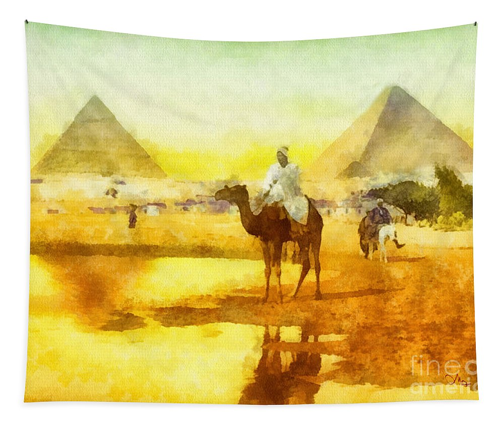 Cairo Tapestry featuring the painting Cairo by Mo T