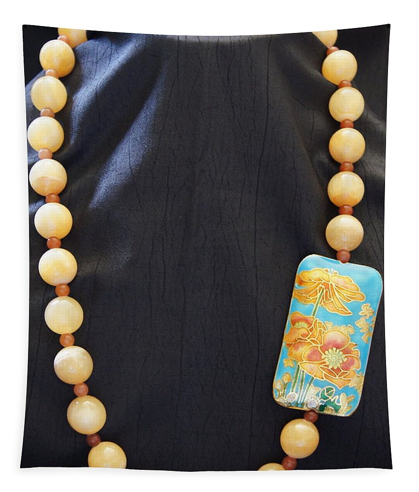 Calcite Tapestry featuring the jewelry Calcite And Red Aventurine Necklace by Megan Cohen