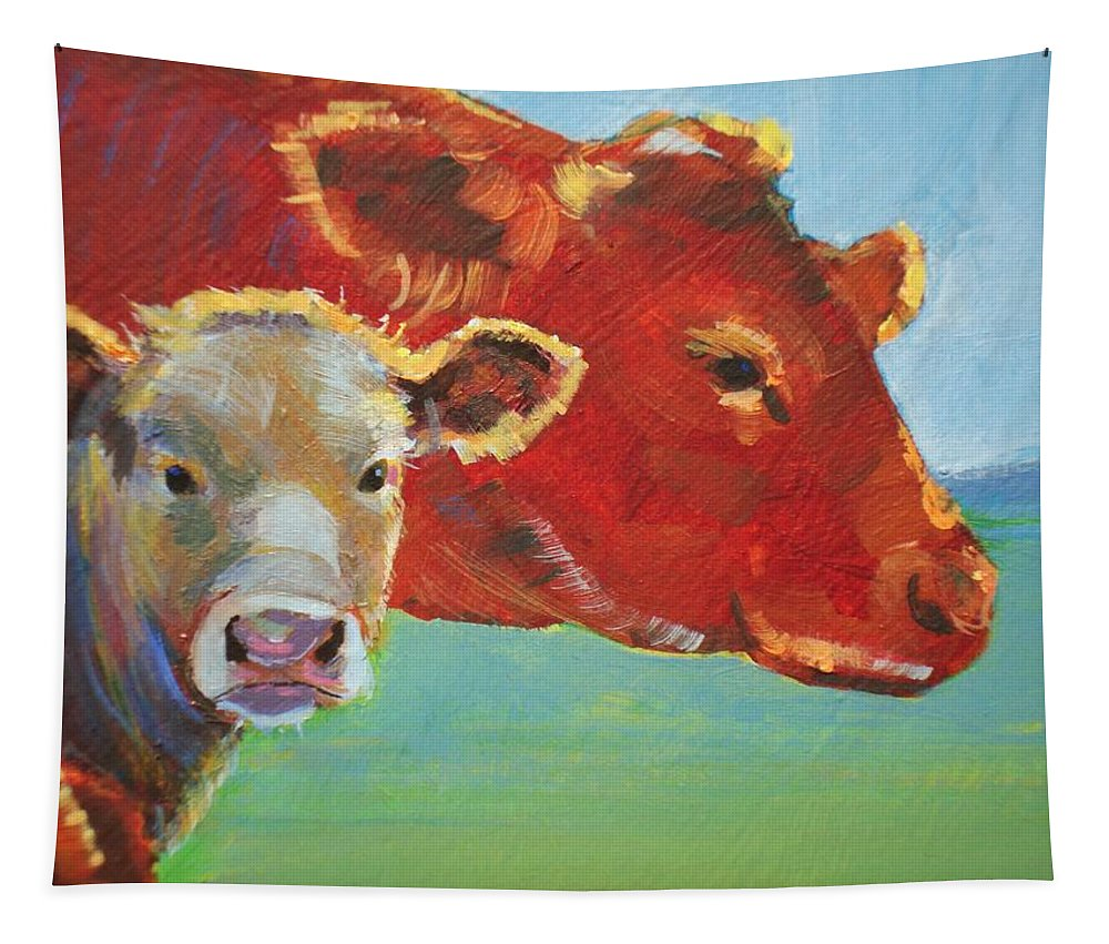 Ruby Tapestry featuring the painting Calf And Cow Painting by Mike Jory