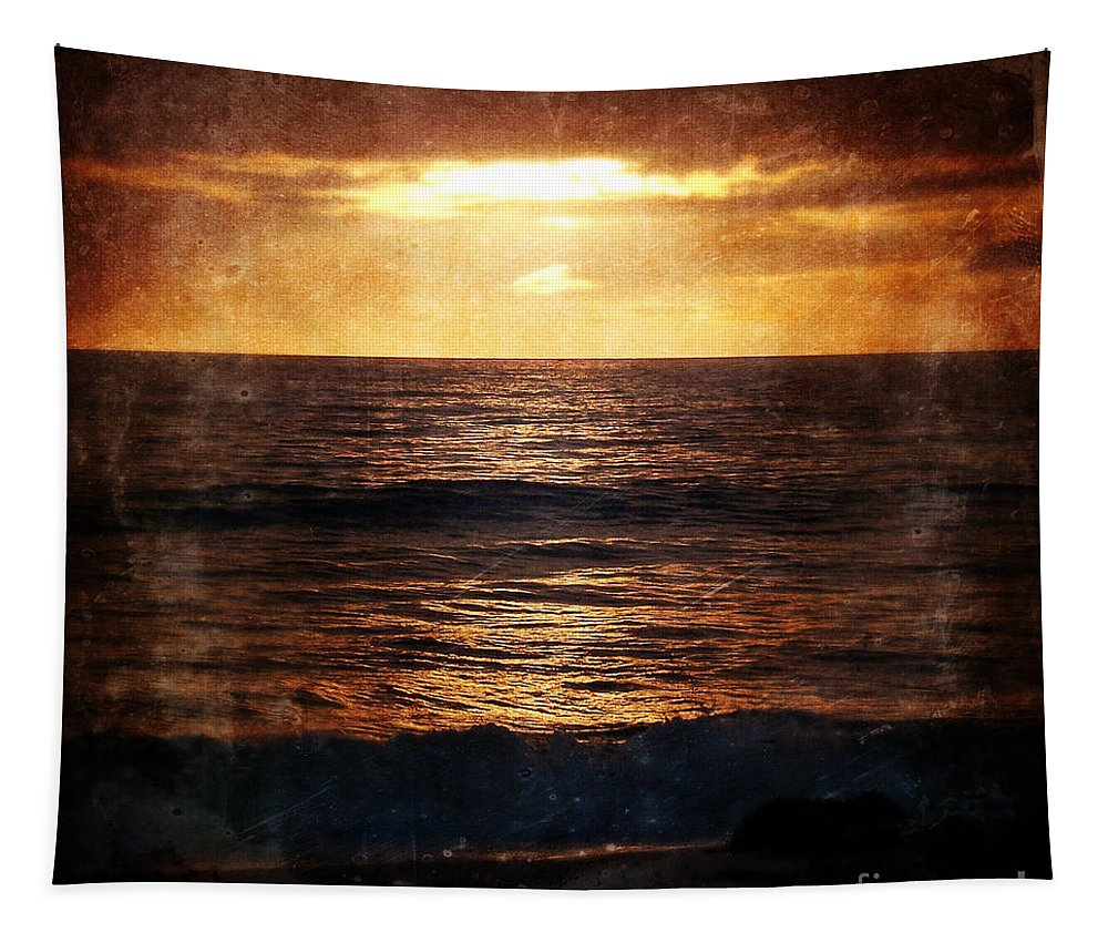 California Tapestry featuring the photograph California Grunge Sunset by Phil Perkins