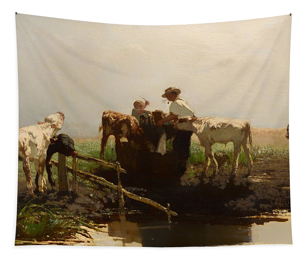Painting Tapestry featuring the painting Calves At A Trough by Mountain Dreams