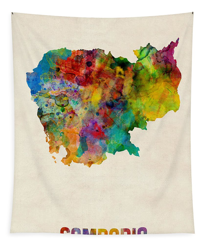 Map Art Tapestry featuring the digital art Cambodia Watercolor Map by Michael Tompsett