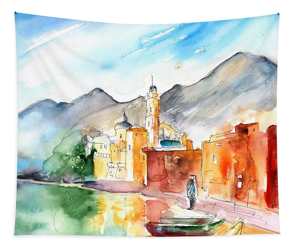 Italy Tapestry featuring the painting Camogli In Italy 11 by Miki De Goodaboom