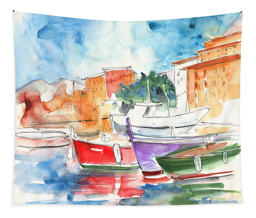 Italy Tapestry featuring the painting Camogli In Italy 14 by Miki De Goodaboom