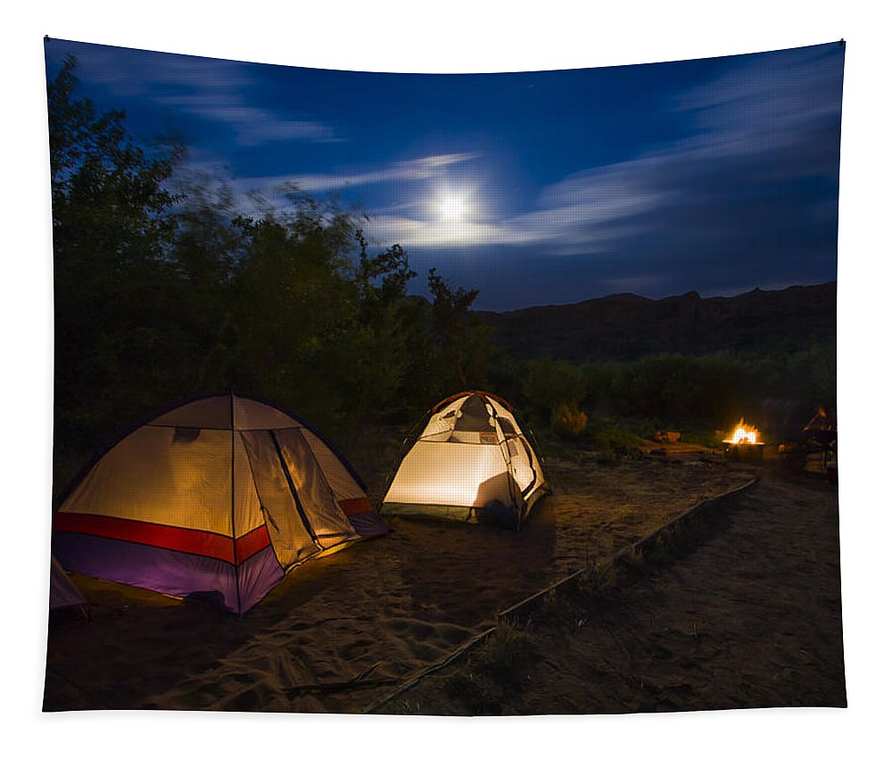 3scape Photos Tapestry featuring the photograph Campfire And Moonlight by Adam Romanowicz