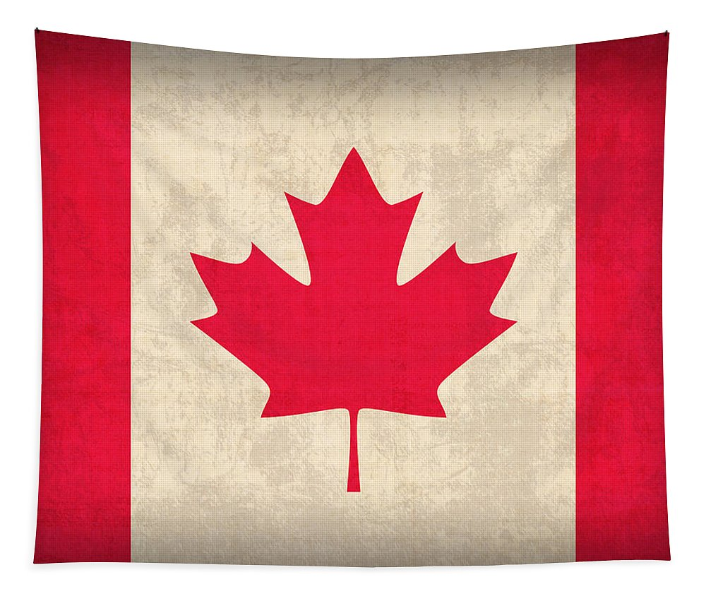 Canada Tapestry featuring the mixed media Canada Flag Vintage Distressed Finish by Design Turnpike