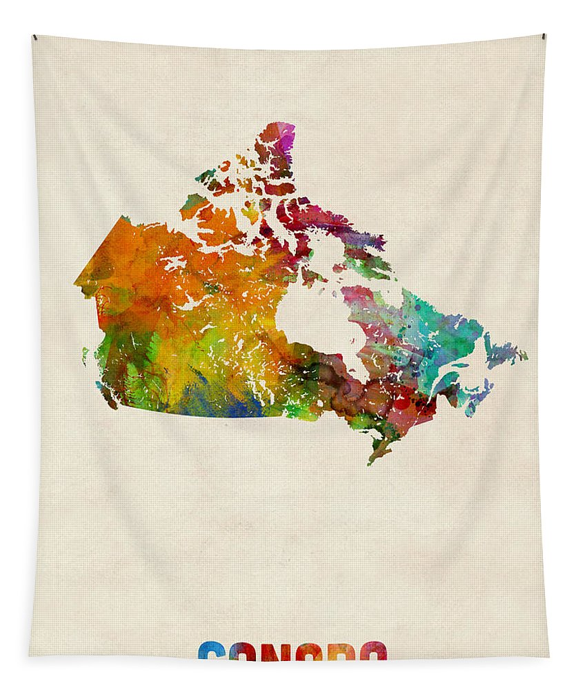 Canada Tapestry featuring the digital art Canada Watercolor Map by Michael Tompsett