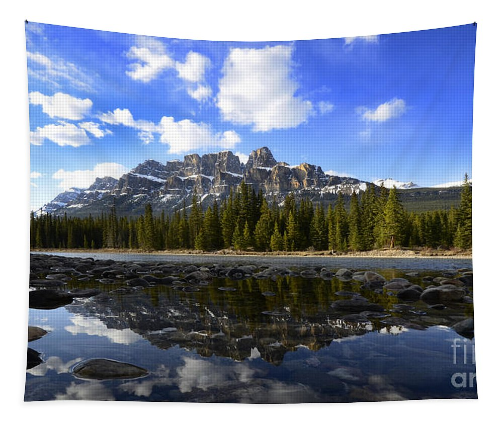 Castle Mountain Tapestry featuring the photograph Canadian Rockies 8 by Bob Christopher