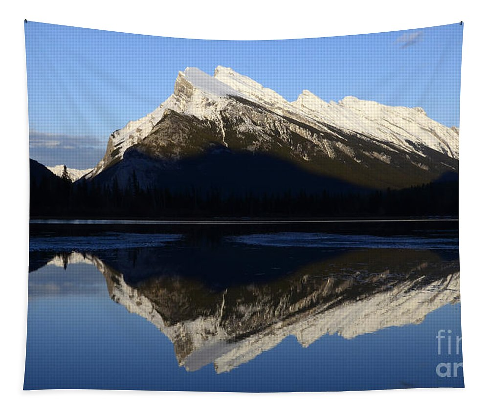 Mount Rundle Tapestry featuring the photograph Canadian Rockies Mount Rundle 1 by Bob Christopher