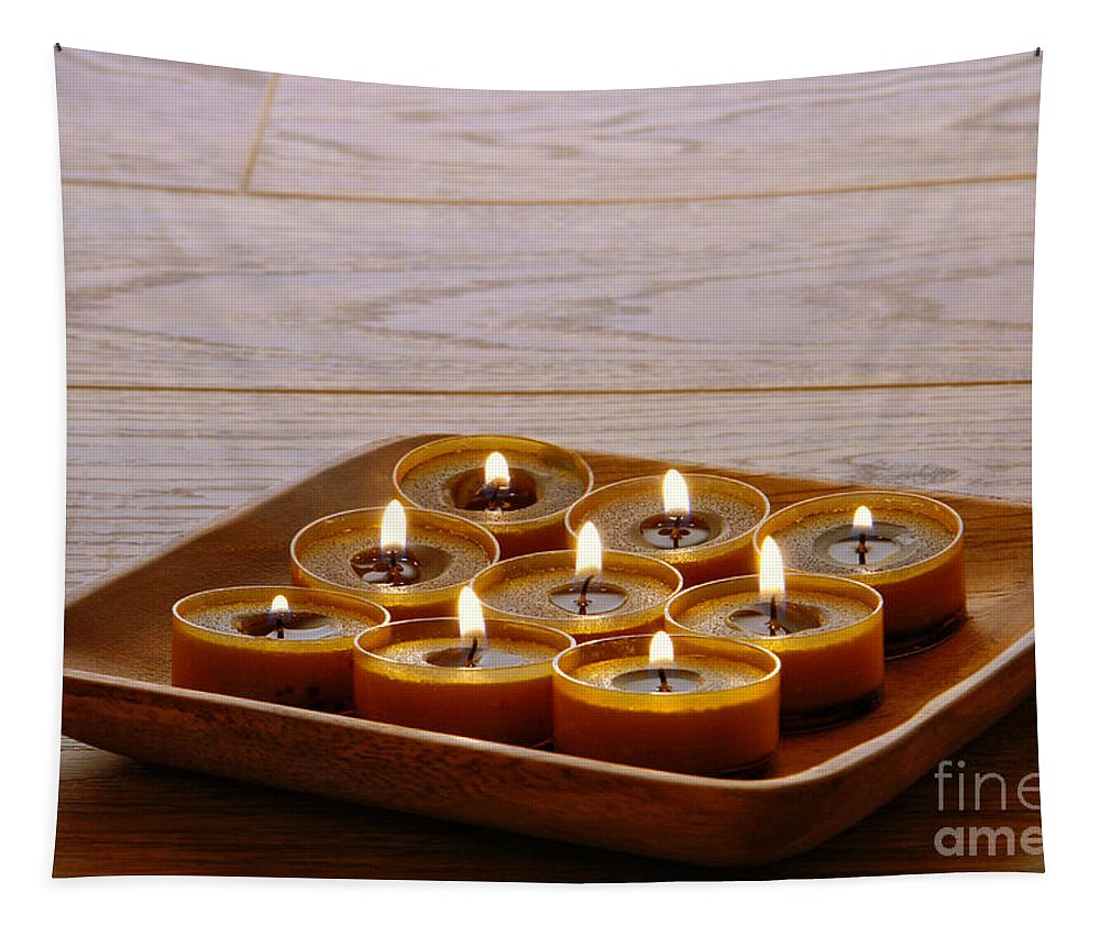Candle Tapestry featuring the photograph Candles In Wood Tray by Olivier Le Queinec