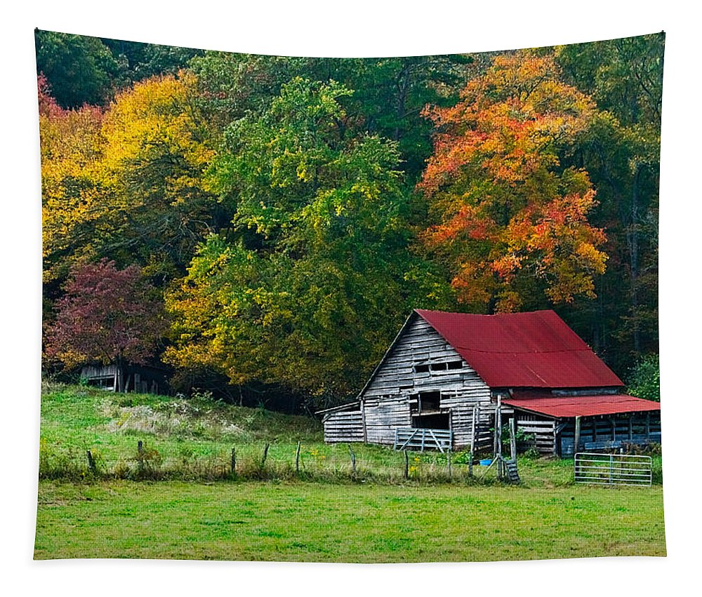 Appalachia Tapestry featuring the photograph Candy Mountain by Debra and Dave Vanderlaan