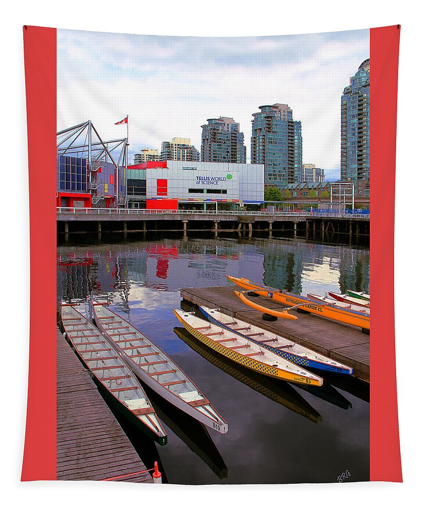 Nautical Tapestry featuring the photograph Canoe Club And Telus World Of Science In Vancouver by Ben and Raisa Gertsberg