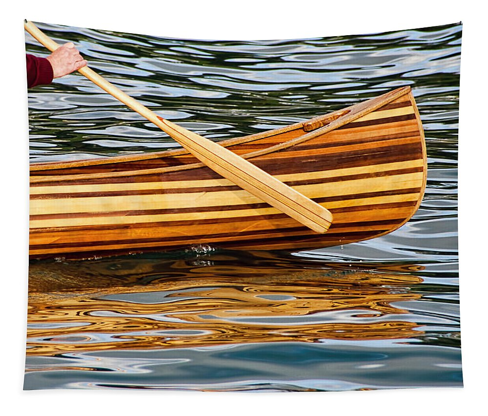 Boat Tapestry featuring the photograph Canoe Lines And Reflections by Susie Peek
