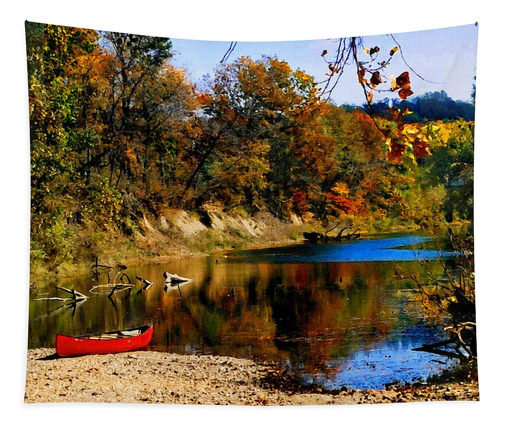Autumn Tapestry featuring the photograph Canoe On The Gasconade River by Steve Karol