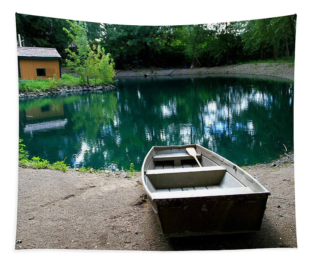 Canoe Reflection Tapestry featuring the photograph Canoeing by Dan Sproul