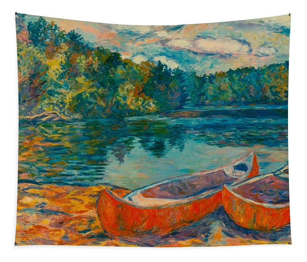 Landscape Tapestry featuring the painting Canoes at Mountain Lake by Kendall Kessler