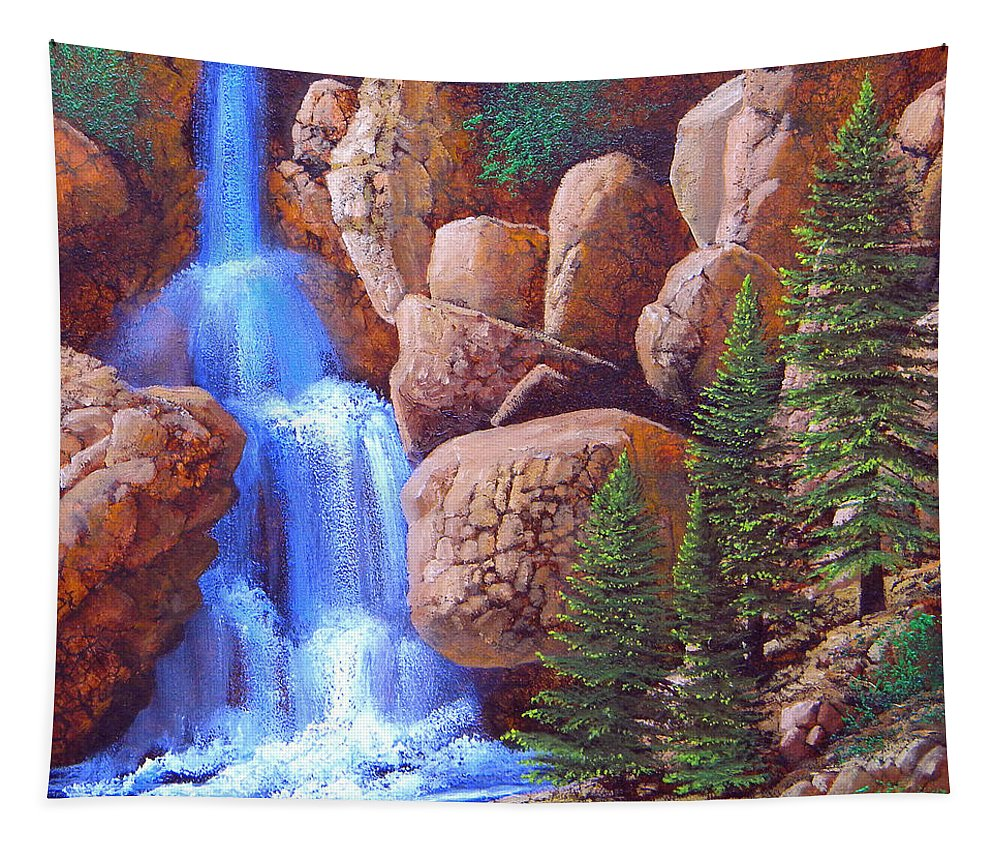Canyon Tapestry featuring the painting Canyon Waterfall by Frank Wilson