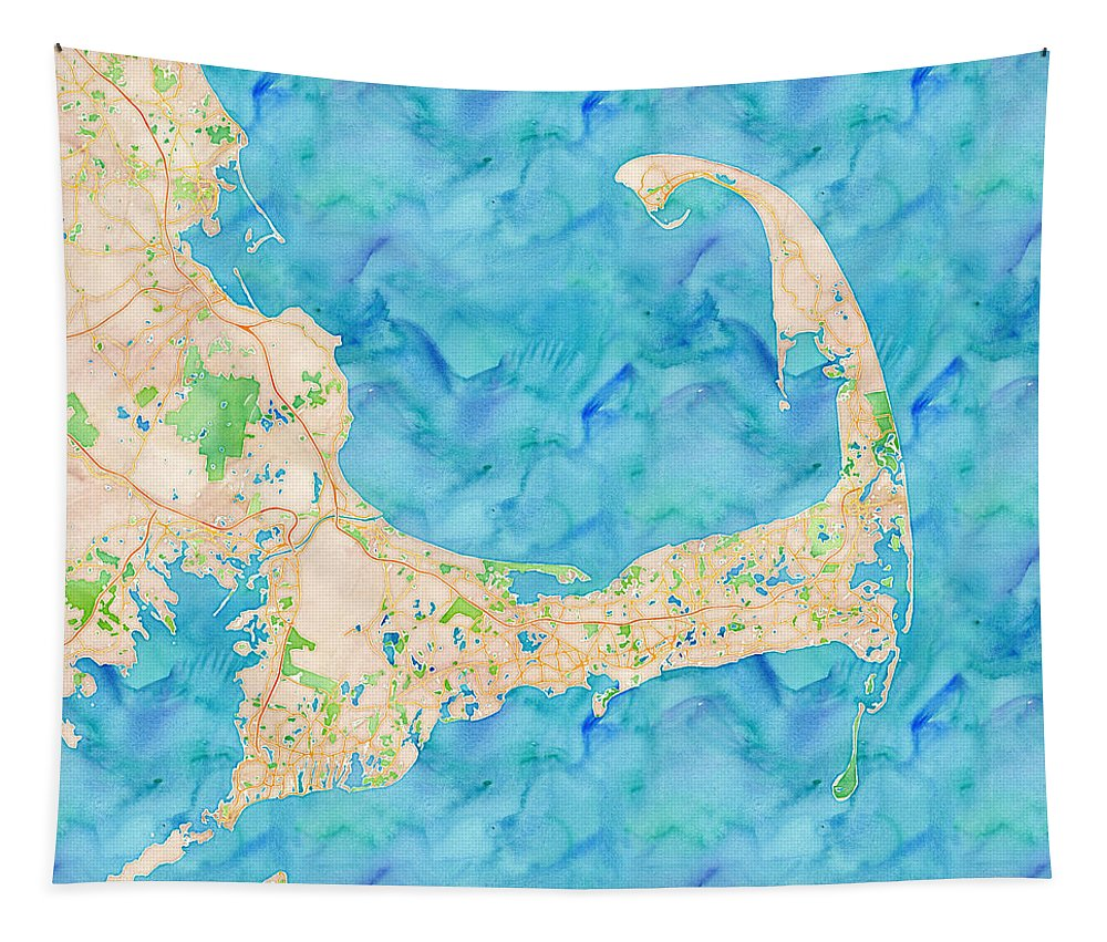 Map Tapestry featuring the digital art Cape Cod Watercolor Map by Joy McKenzie