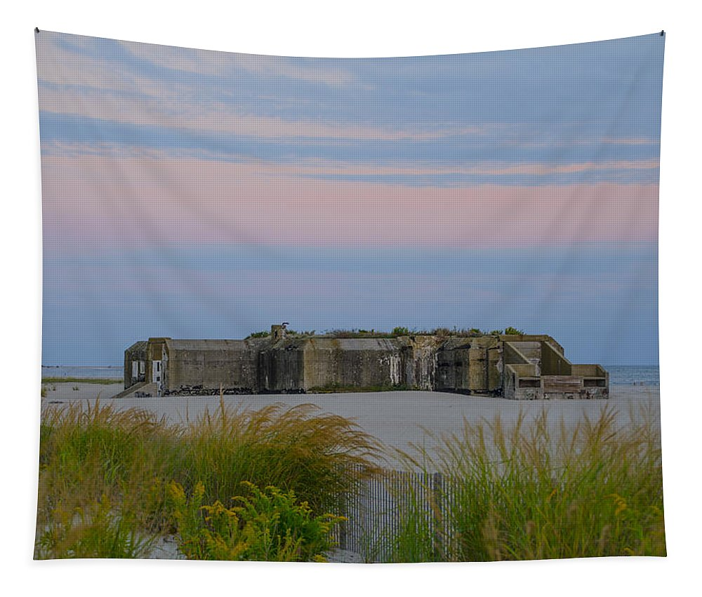 Cape Tapestry featuring the photograph Cape May Wold War Two Concrete Bunker by Bill Cannon