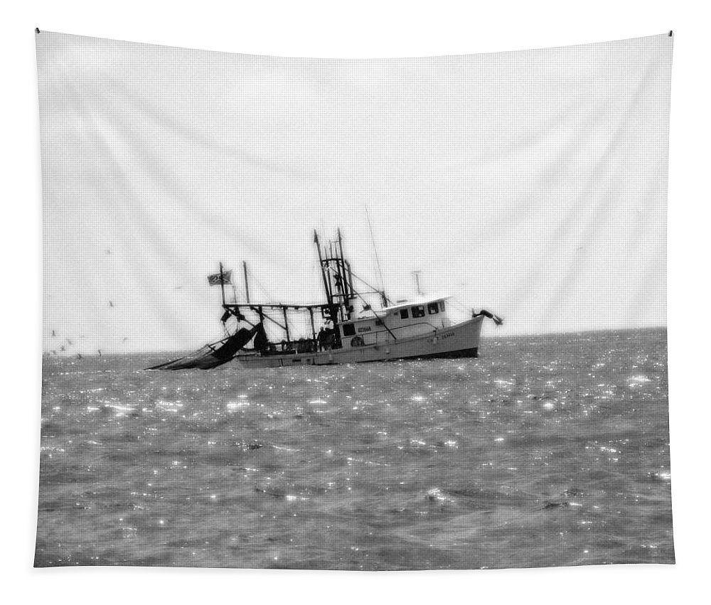 Boat Tapestry featuring the photograph Capt. Jamie - Shrimp Boat - Bw 01 by Pamela Critchlow