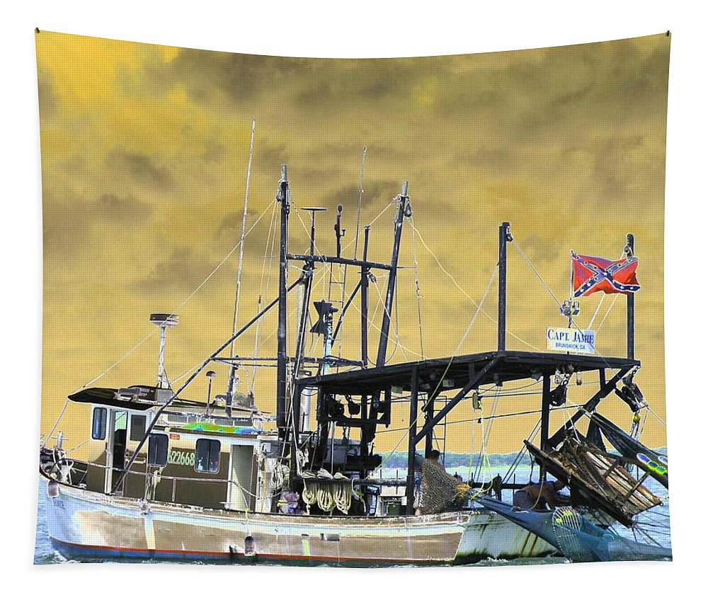 Boat Tapestry featuring the photograph Capt. Jamie - Shrimp Boat - Photopower 01 by Pamela Critchlow