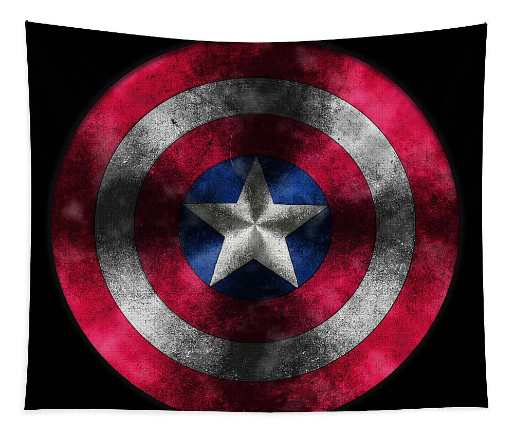 Captain America Movie Tapestry featuring the painting Captain America Shield by Georgeta Blanaru