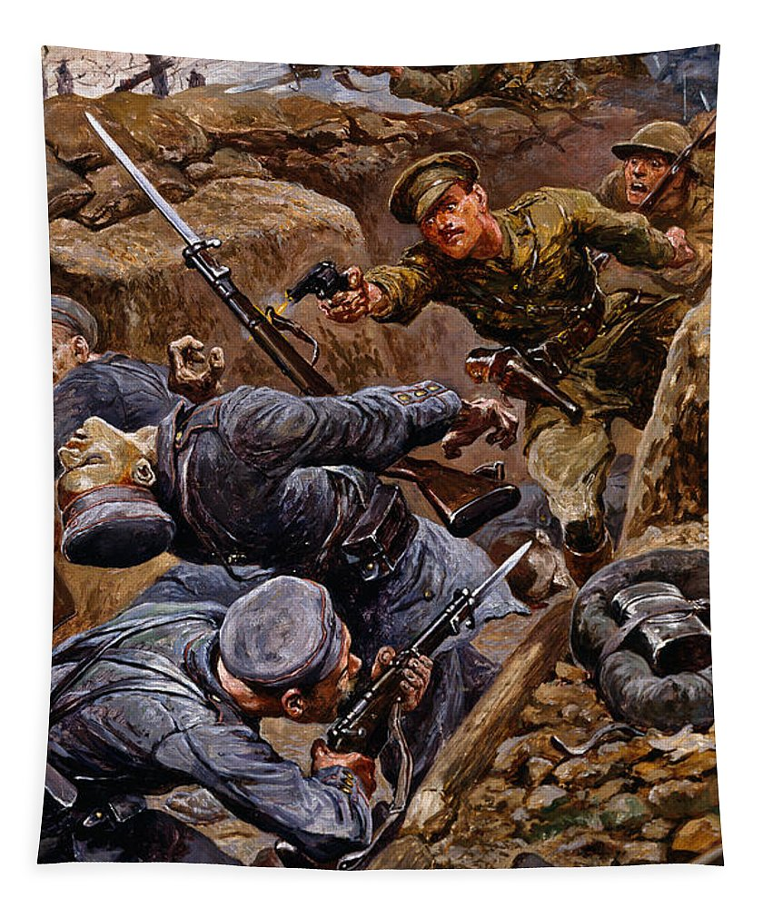 Male Tapestry featuring the painting Captain Reginald James Young Winning by Stanley L. Wood