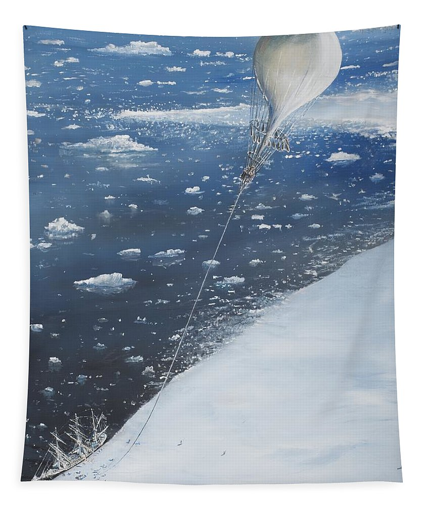 Scott Tapestry featuring the painting Captain Scott Antarcticas First Aeronaut by Vincent Alexander Booth