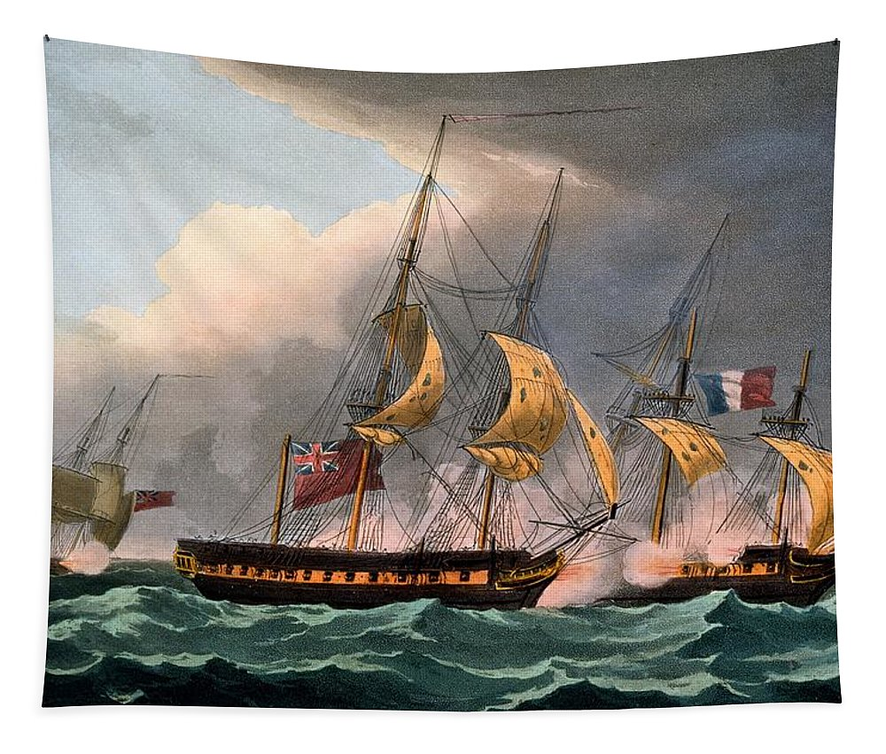 French Tapestry featuring the drawing Capture Of La Loire by Thomas Whitcombe
