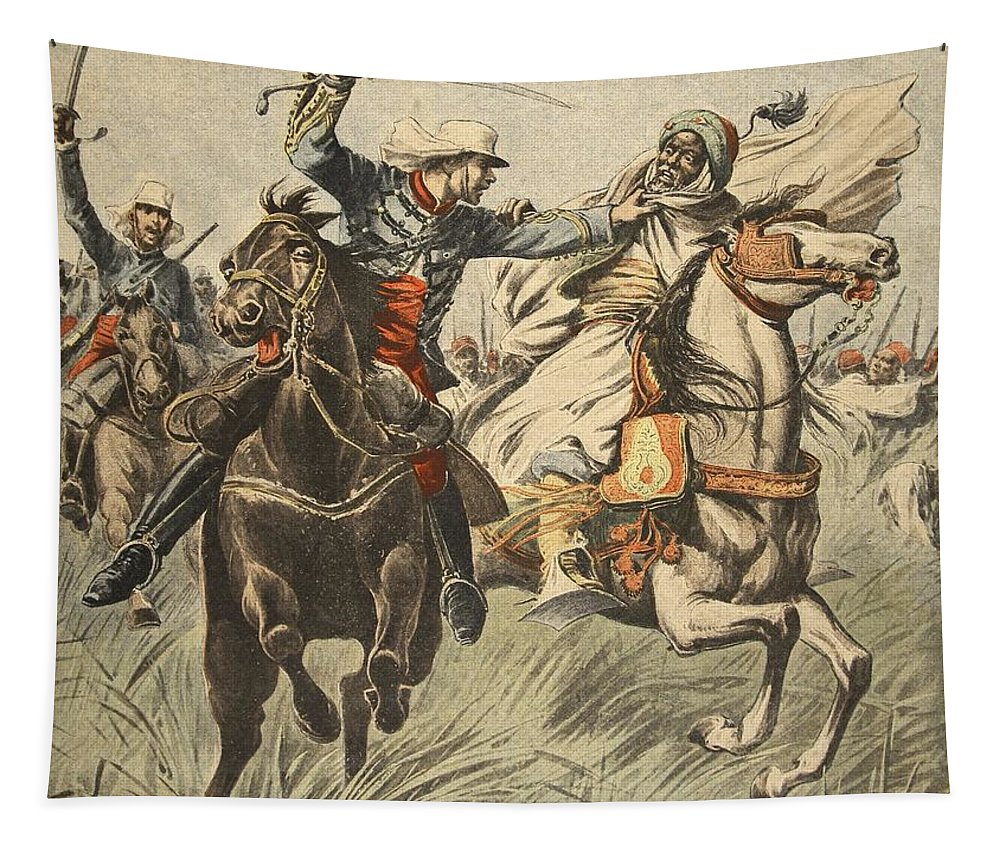 West Africa Tapestry featuring the drawing Capture Of Samory By Lieutenant by French School