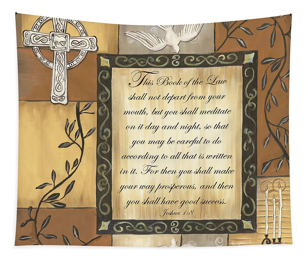 Scripture Tapestry featuring the painting Caramel Scripture by Debbie DeWitt