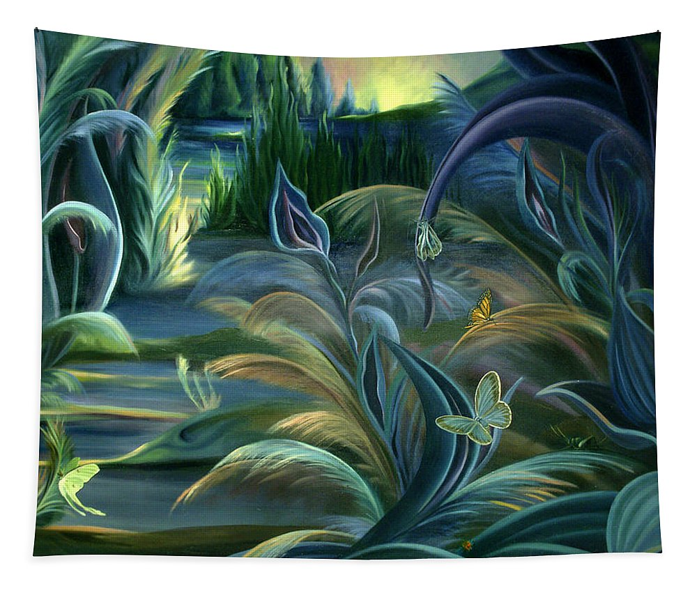 Insects Tapestry featuring the painting Card Design For Insects Of Enchanted Stream by Nancy Griswold