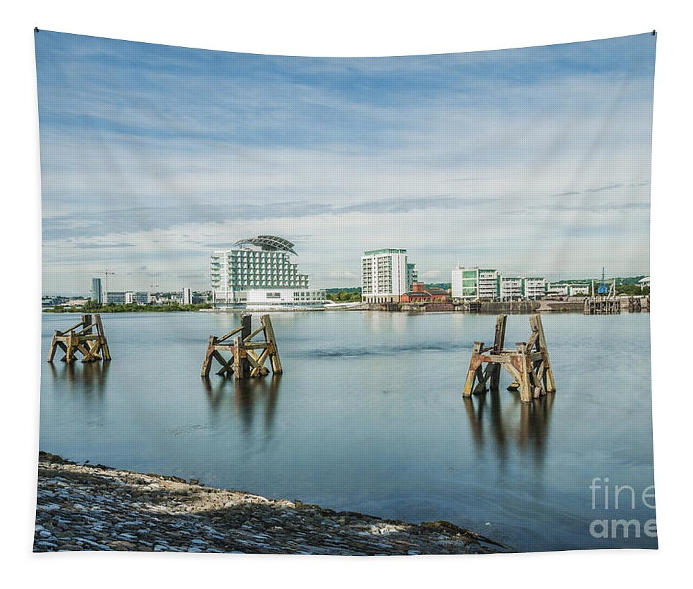 Cardiff Bay Tapestry featuring the photograph Cardiff Bay Towards St Davids Hotel Long Exposure by Steve Purnell