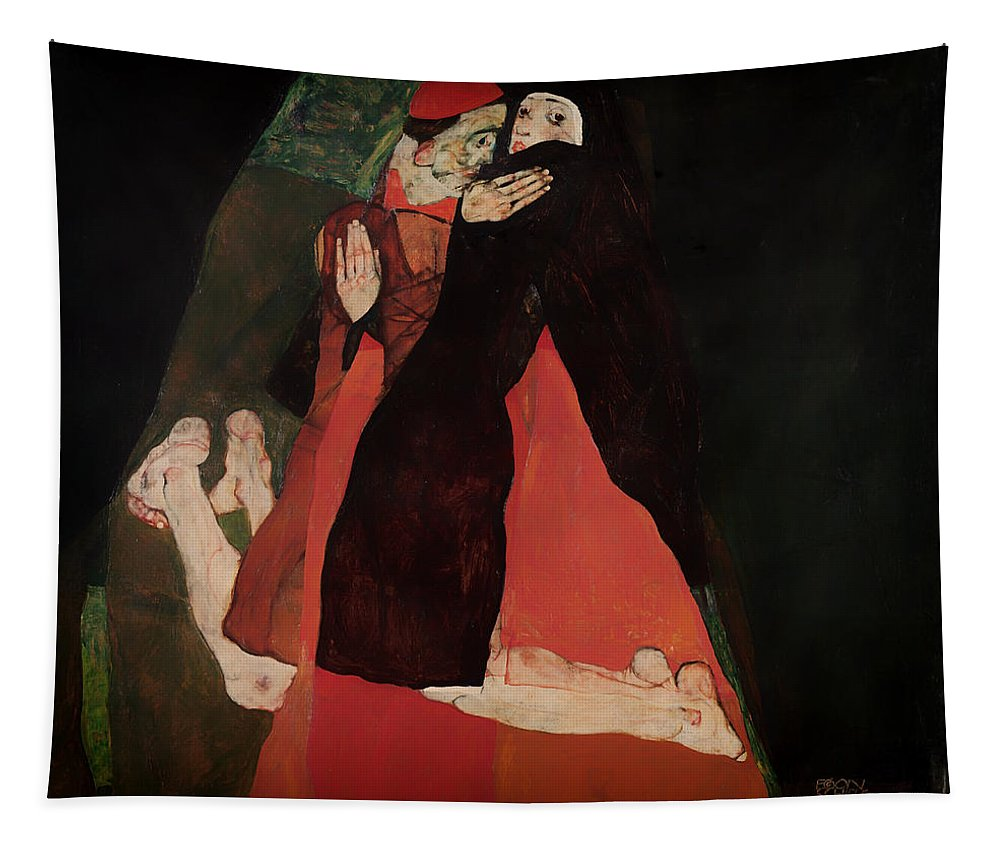 Painting Tapestry featuring the painting Cardinal And Nun by Mountain Dreams