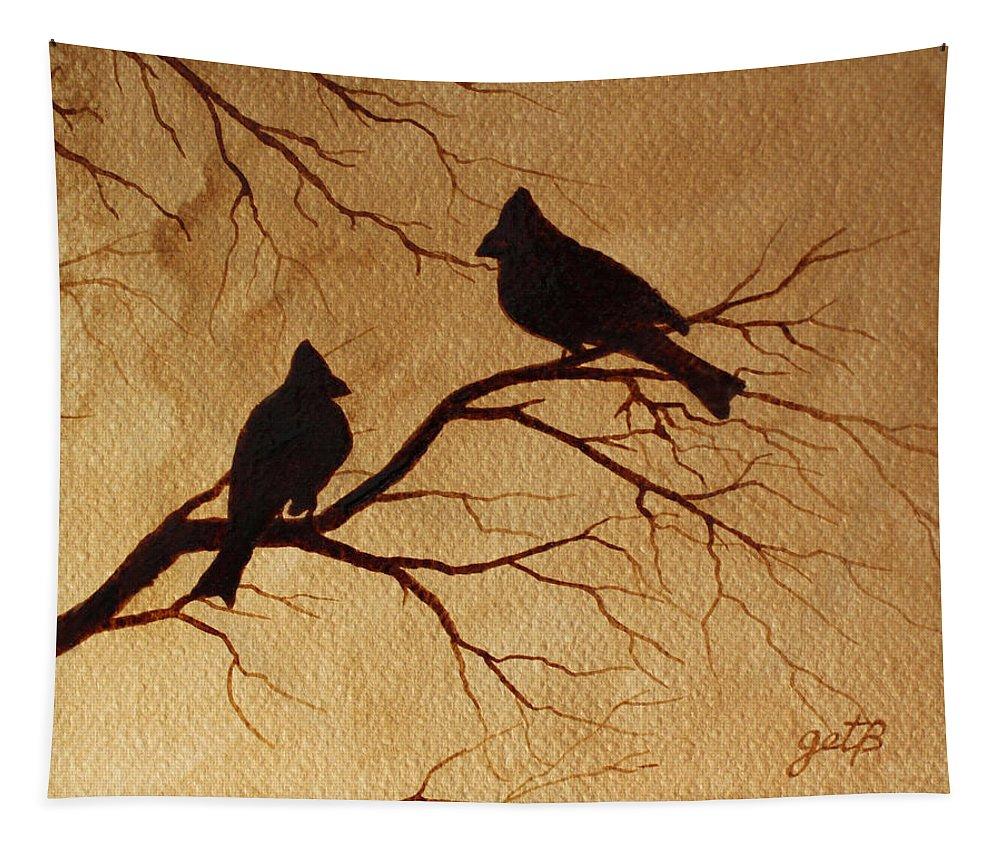 Cardinals Birds Coffee Art Tapestry featuring the painting Cardinals Silhouettes Coffee Painting by Georgeta Blanaru