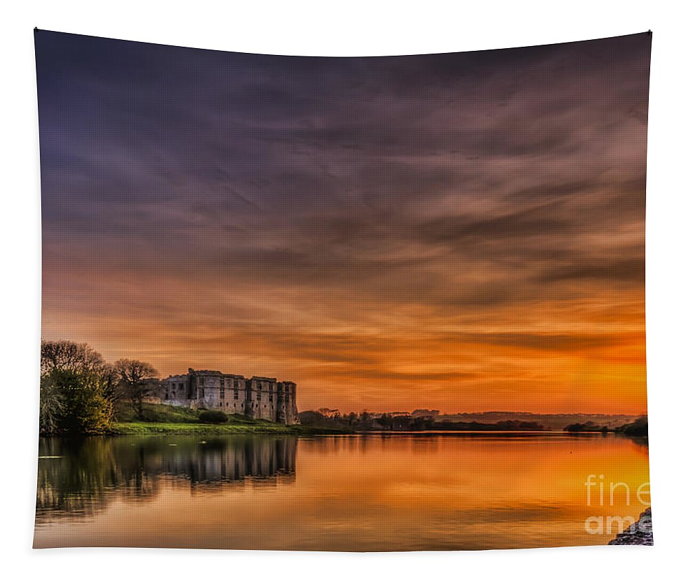Carew Castle Tapestry featuring the photograph Carew Castle Sunset 1 by Steve Purnell