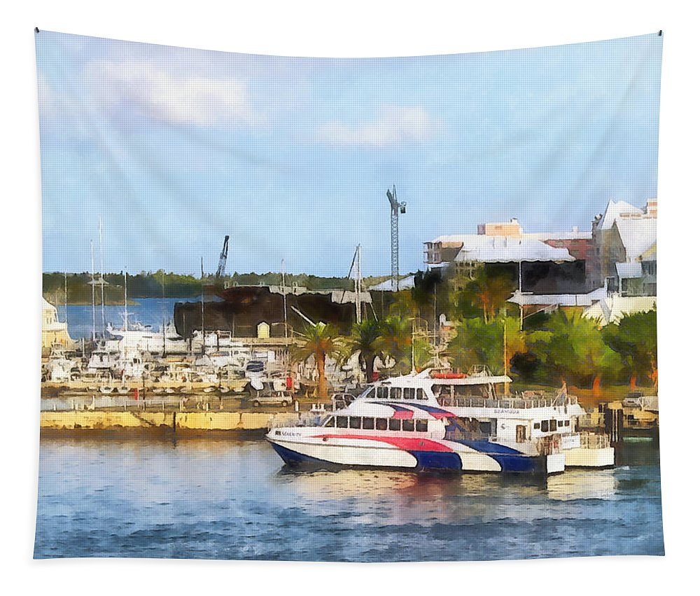 Boat Tapestry featuring the photograph Caribbean - Dock At King's Wharf Bermuda by Susan Savad