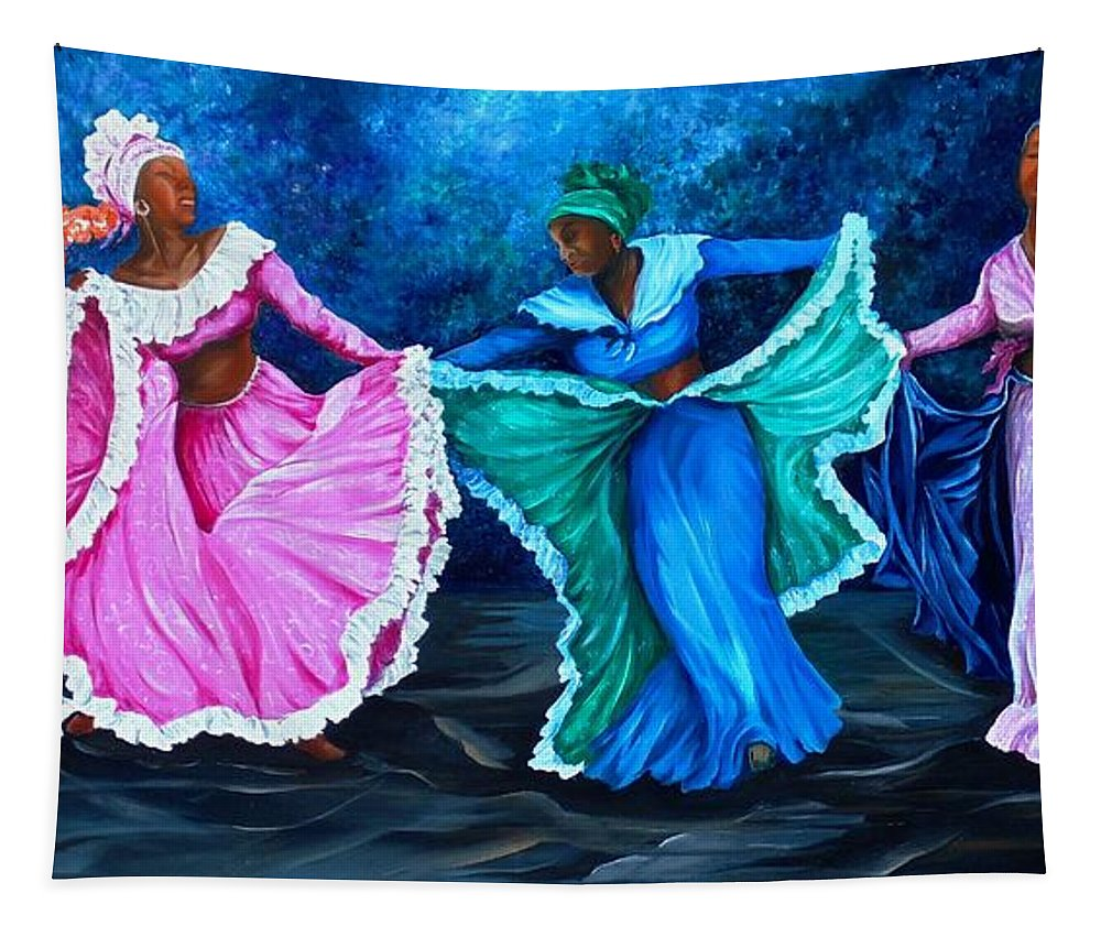 Caribbean Dance Tapestry featuring the painting Caribbean Folk Dancers by Karin Dawn Kelshall- Best
