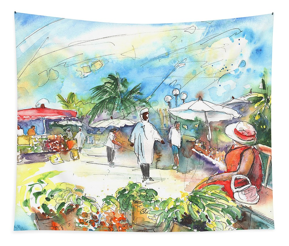 Caribbean Market Tapestry featuring the painting Caribbean Market by Miki De Goodaboom